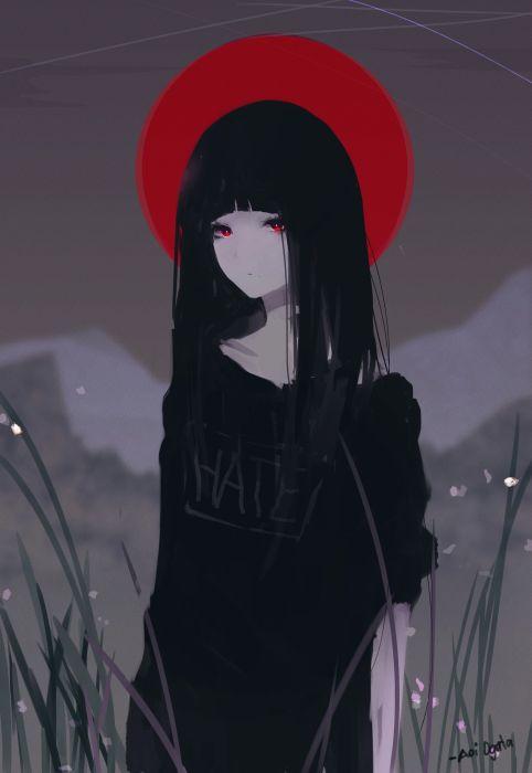 red original anime girl cute beautiful eyes wallpaper