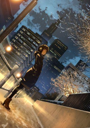 winter snow night city original anime girl cute beautiful wallpaper