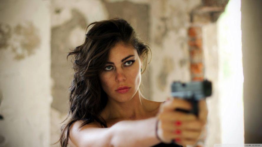 WOMEN & GUNS females-girls-sexy-brunette-weapons-guns-pistol wallpaper