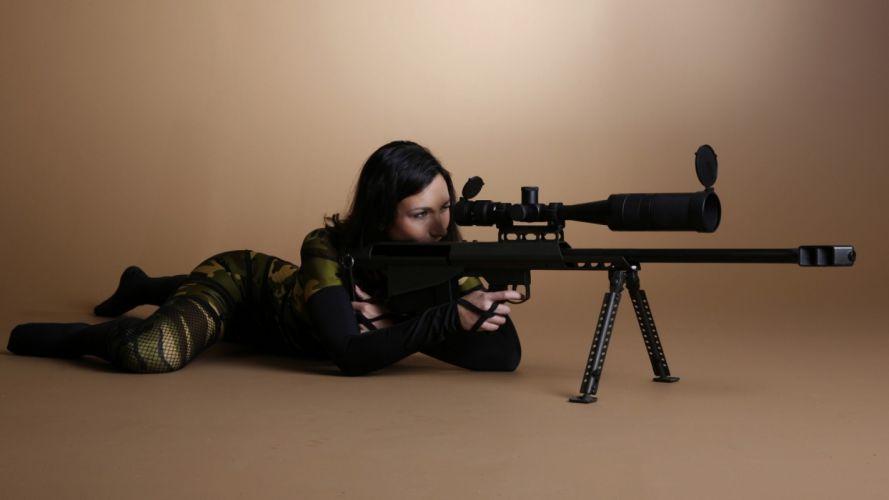 WOMEN & GUNS females-girls-sexy-weapons-camouflage-sniper-rifle wallpaper
