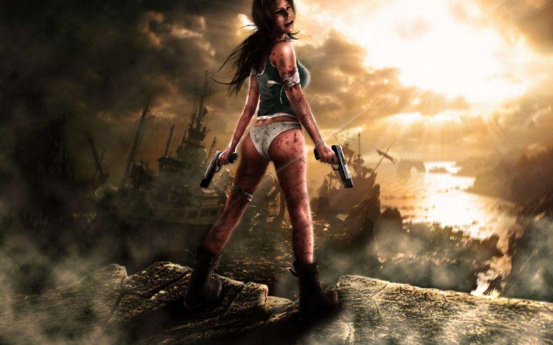WOMEN & GUNS females-girls-sexy-weapons-guns-pistol-arts wallpaper