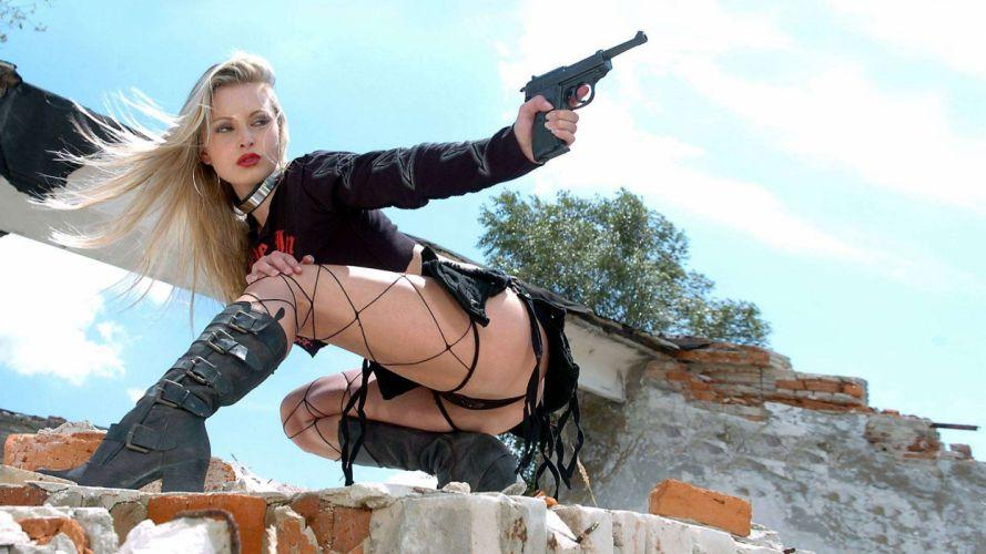 WOMEN & GUNS females-girls-sexy-weapons-guns-pistol-boot-pose wallpaper