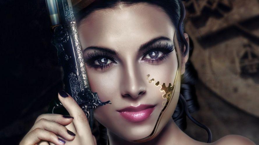 WOMEN & GUNS females-girls-sexy-weapons-guns-pistol-face wallpaper