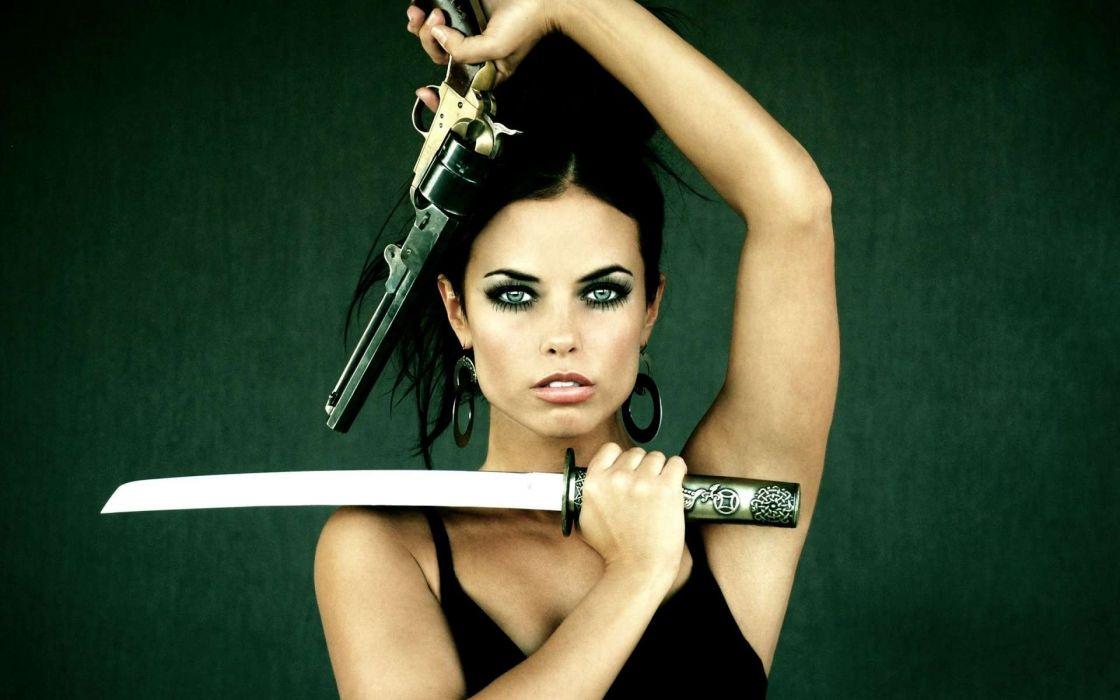 WOMEN & GUNS females-girls-sexy-weapons-guns-pistol-katana wallpaper