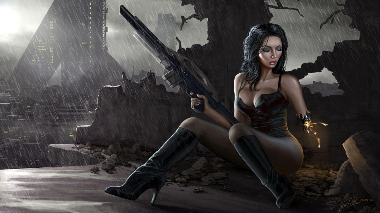 WOMEN & GUNS females-girls-sexy-weapons-guns-science-fiction-warrior-cyborg-Rifle wallpaper