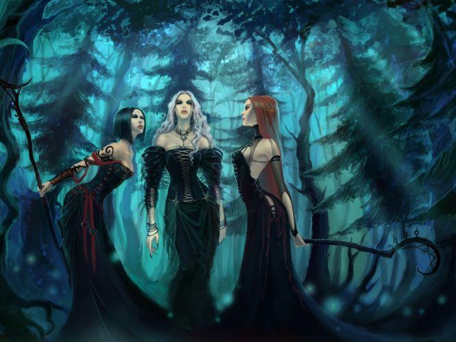 aquelarre 3 brujas bosque fantasias wallpaper