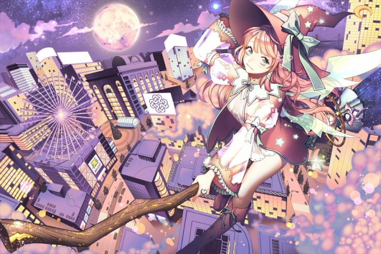 original anime girl beauty beautiful witch moon wallpaper