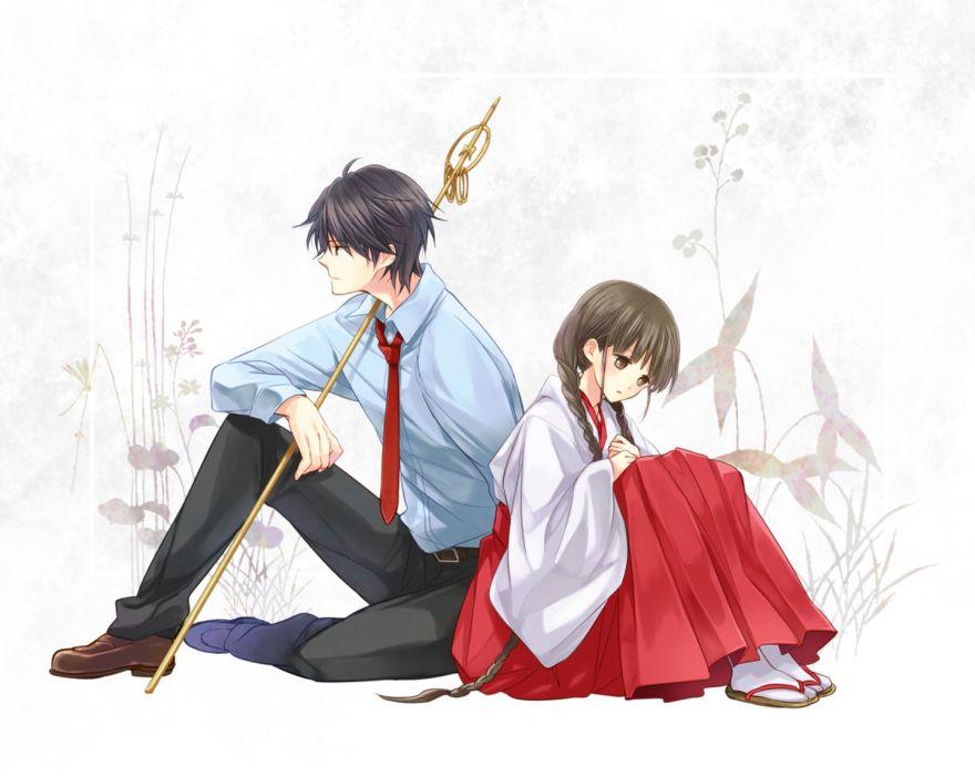 rdg+red+data+girl original anime girl beautiful long hair beauty couple kimono wallpaper