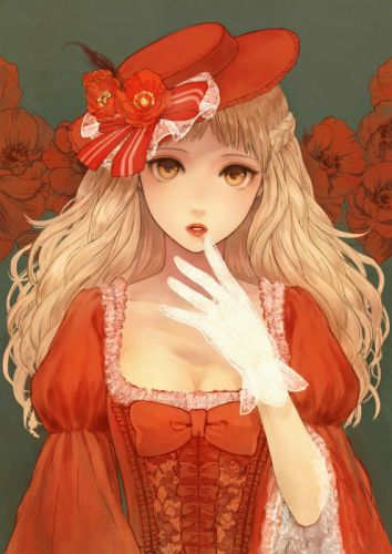red dress flower blonde original anime girl beautiful long hair romiy beauty wallpaper