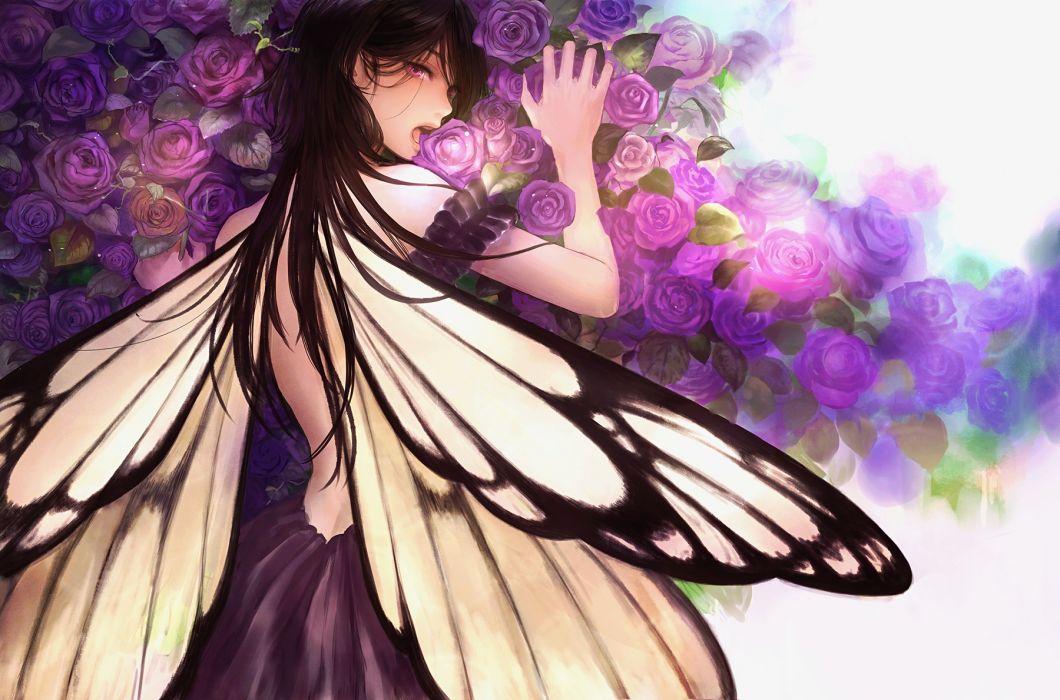 rose original anime girl beautiful long hair romiy beauty wallpaper