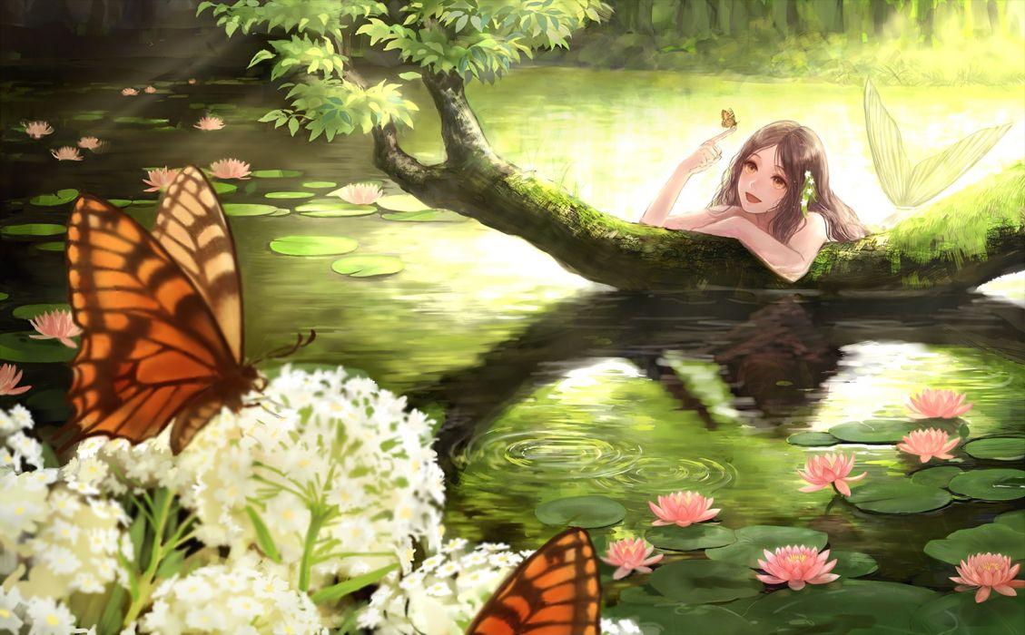 mermaid butterfly smile flower original anime girl beautiful long hair romiy beauty wallpaper