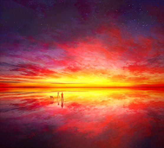 original anime scan landscape red sky clouds wallpaper