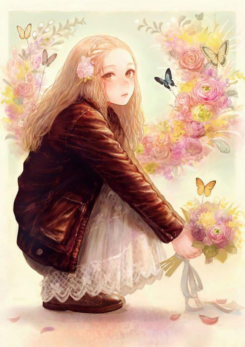 anime original romiy long hair cute flower girl wallpaper