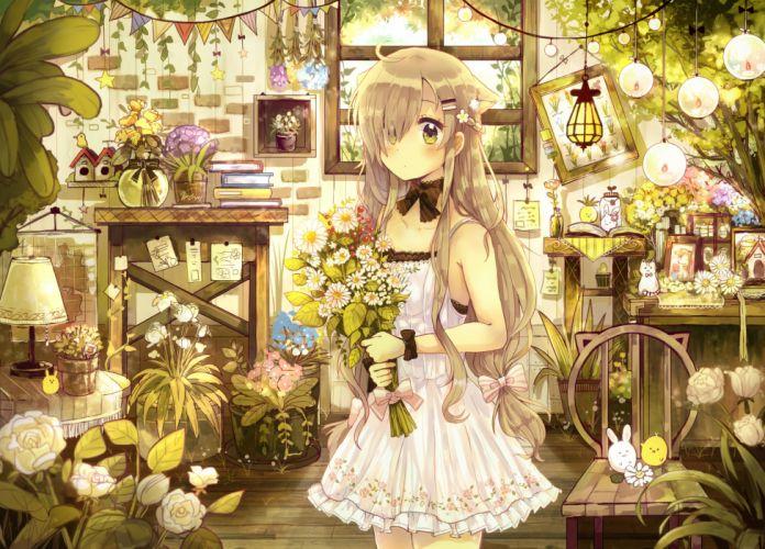 flower original anime girl cute dress wallpaper