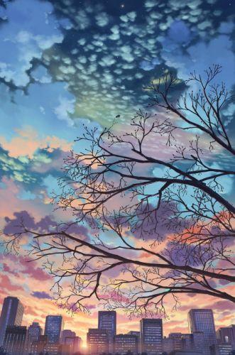 tree sky original anime beauty wallpaper