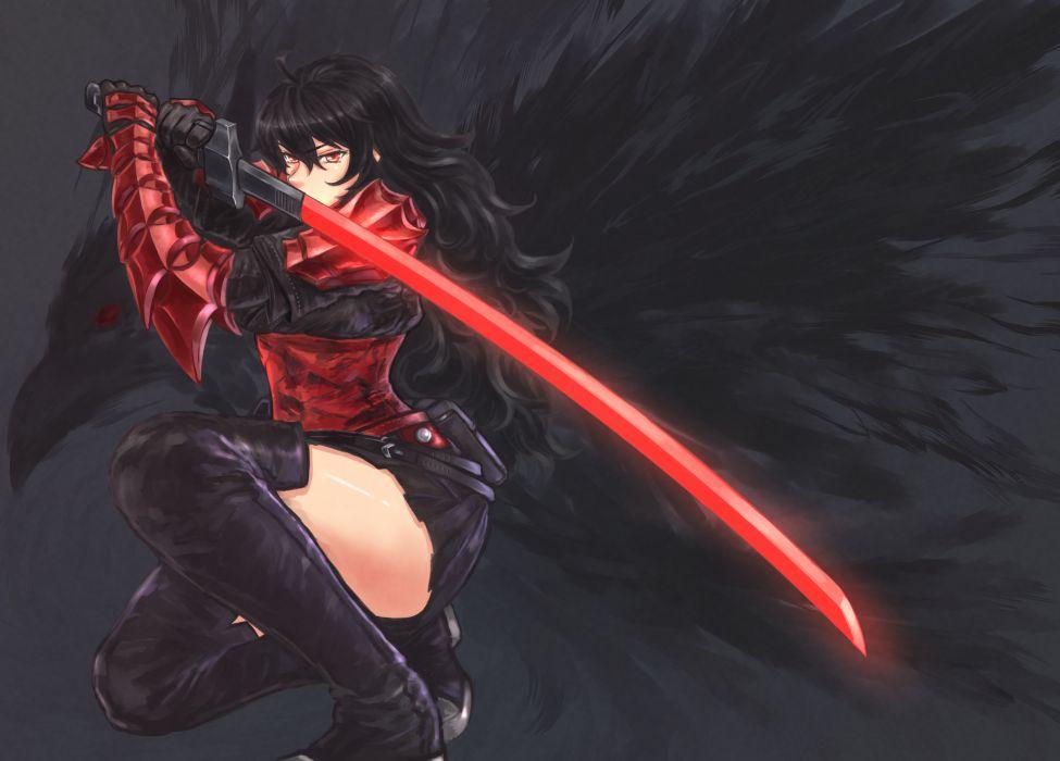 warrior sword original anime girl beautiful wallpaper