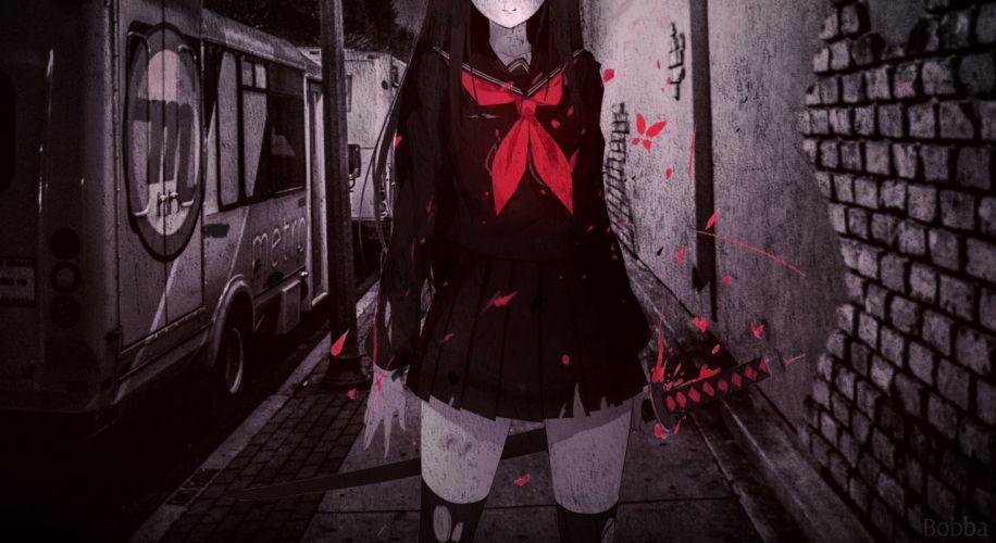 original anime girl red blood school uniform sword wallpaper