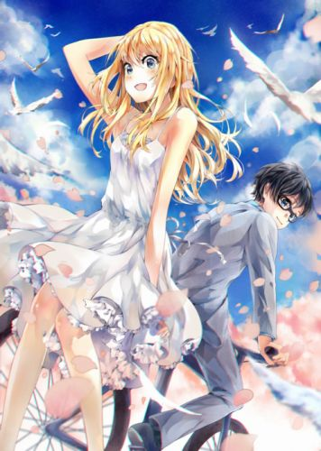 bike dress birds shigatsu+wa+kimi+no+uso original anime girl cute beautiful boy couple wallpaper