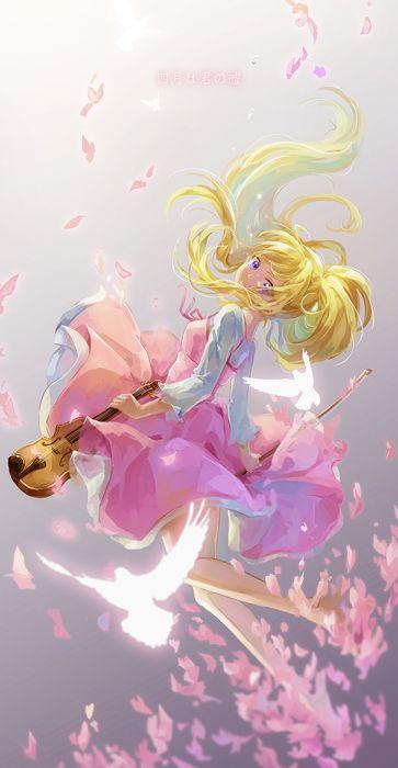 shigatsu+wa+kimi+no+uso original anime girl cute beautiful blnde violin bird wallpaper