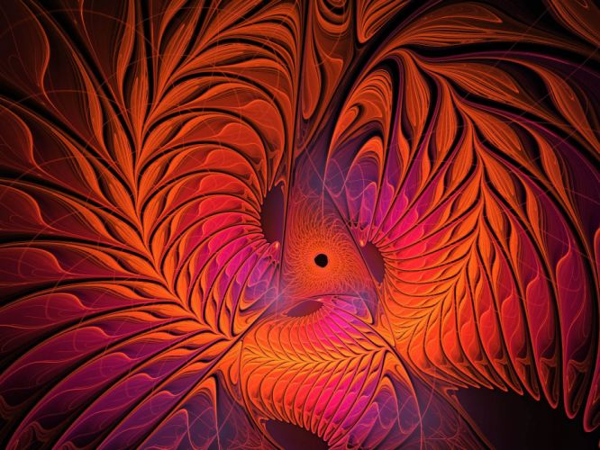 red spiral fractal wallpaper