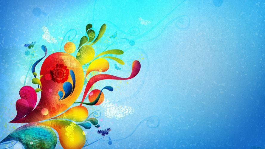 abstracto vector flores azul wallpaper