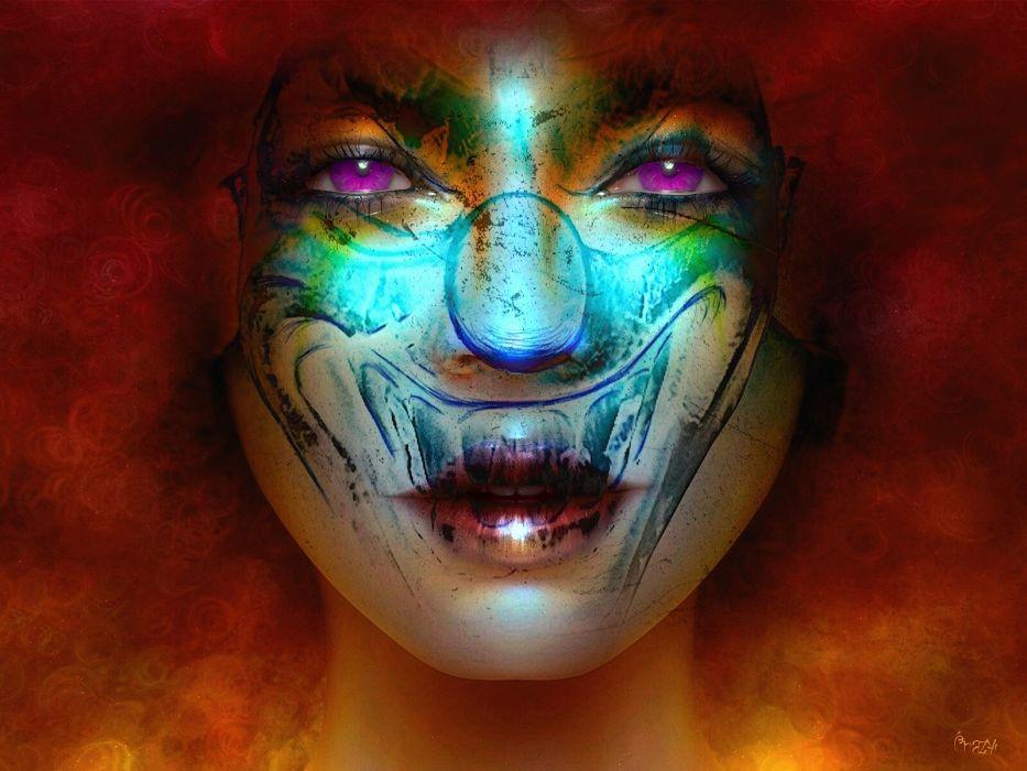 abstracto rostro mujer colores wallpaper