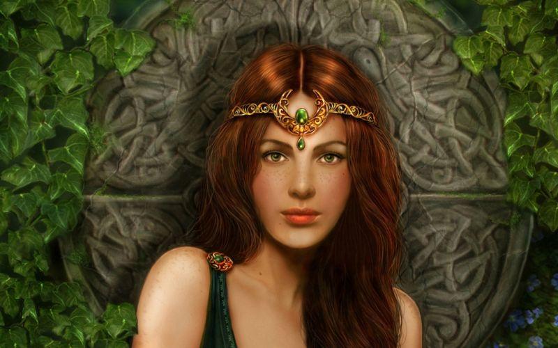 Very beautiful angel girl fantasy green eyes face woman wallpaper