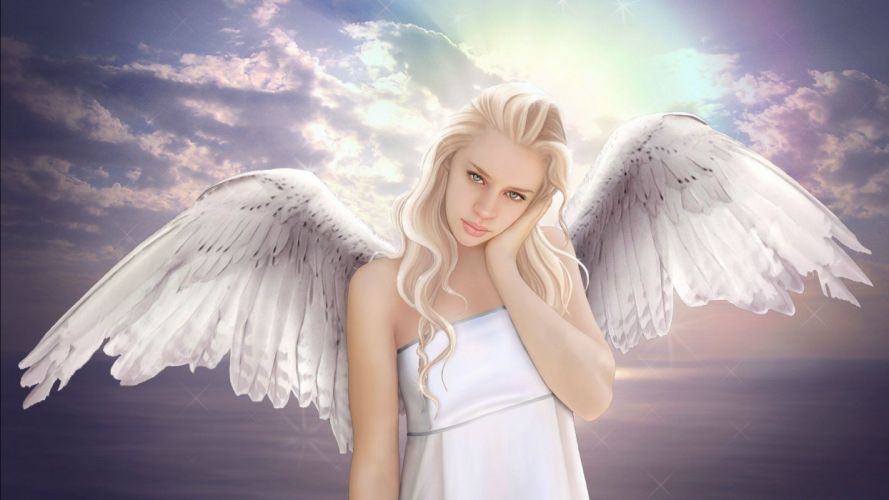 green eyes wings woman 3d fantasy Beautiful Angel wallpaper