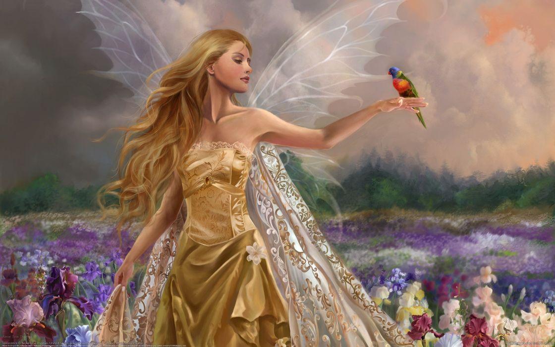 Beautiful Fairy 3d original blonde long hair bird fantasy wallpaper
