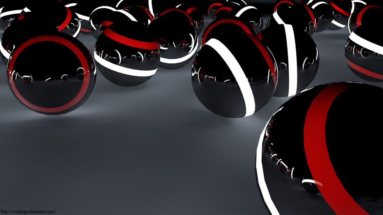Arts Ball Light Red White Black Design Wallpaper 1920x1080