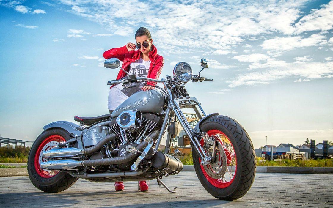 Girl and her Harley Davidson wallpaper