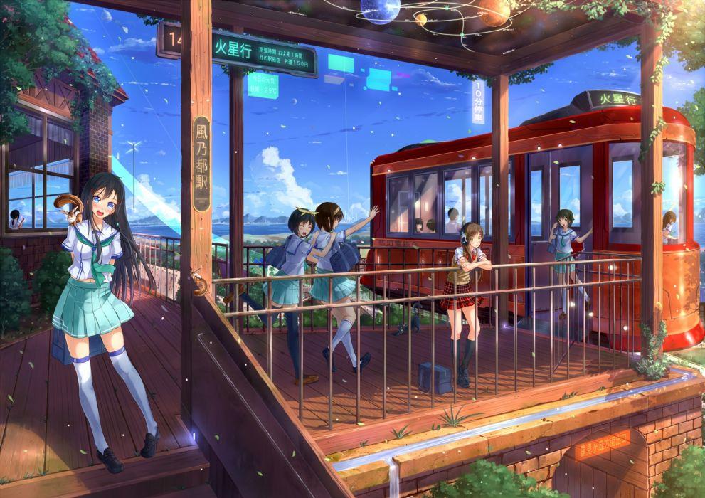 kazeno cat cute original anime girl long hair beautiful school uniform group girls wallpaper