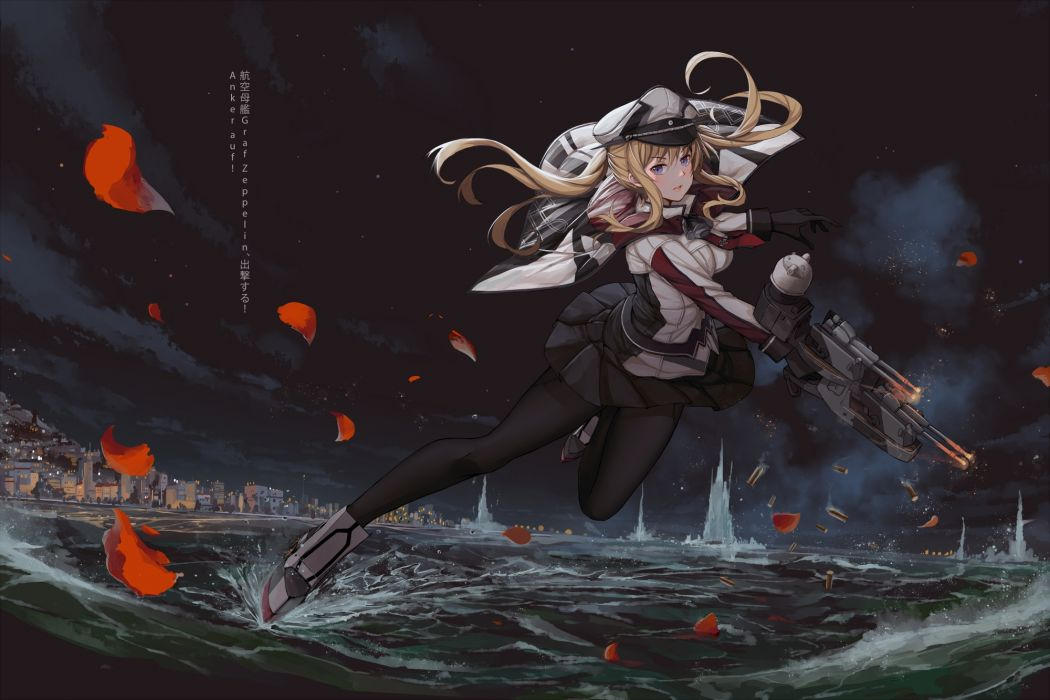 petals weapon kantai original anime girl cute dress wallpaper