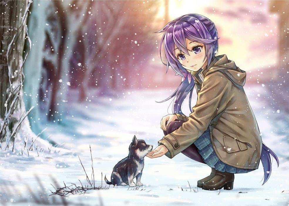 kantai collection original anime girl cute dress dog snow wallpaper