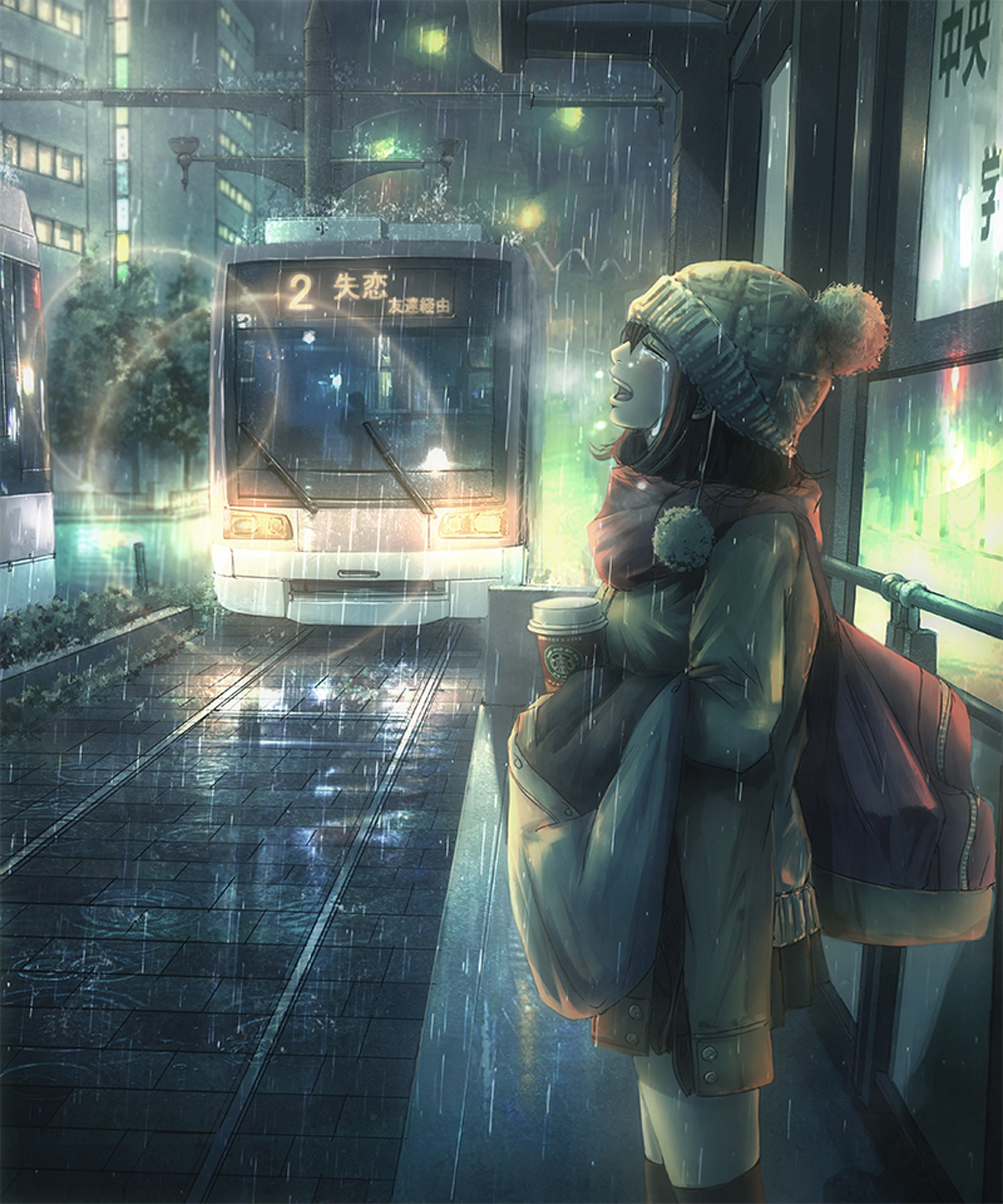 Anime Girl Crying In The Rain - Gambarku