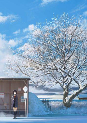 winter tree long hair original anime girl cute school uniform wallpaper