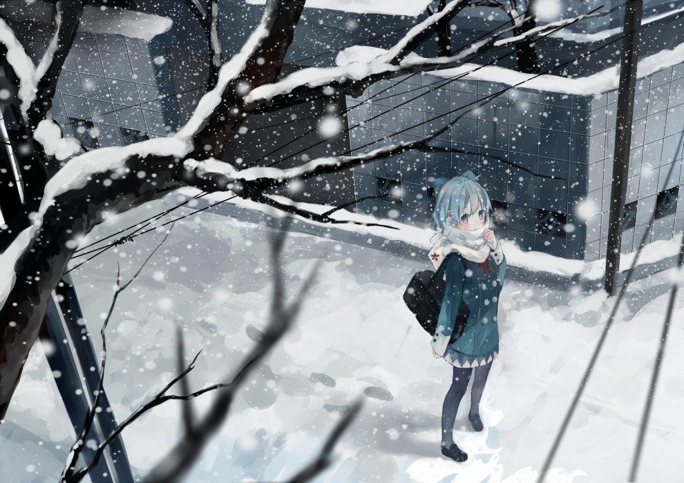 original snow anime girl winter touhou boushaku wallpaper