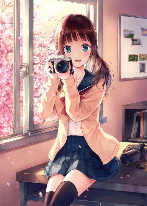 original school girl uniform beautiful anime smile wallpaper