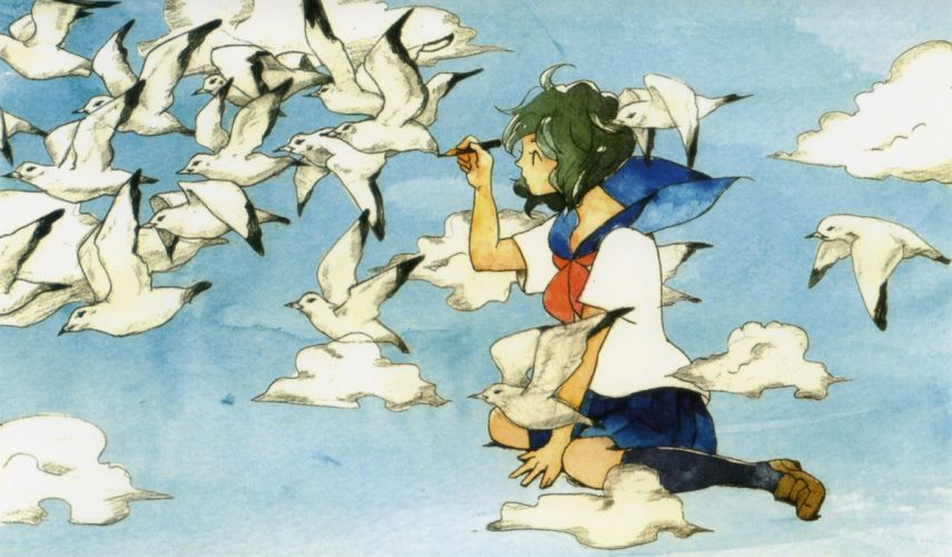 birds pixiv girls collection original anime beautiful wallpaper