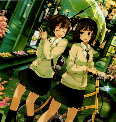 school girls bike pixiv girls collection original anime beautiful wallpaper