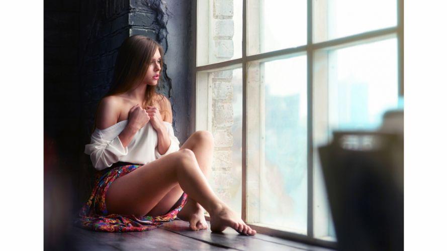SENSUALITY sad-girl-women-alone-window-feet wallpaper