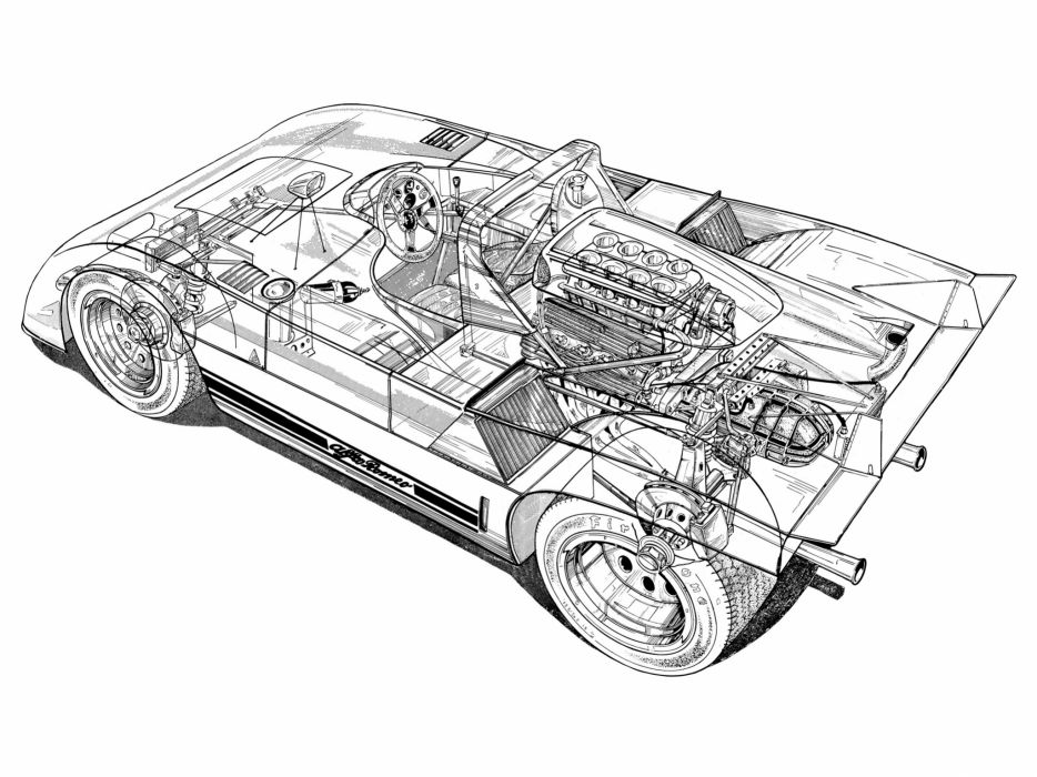 Alfa Romeo Tipo 33 TT3 Spider Classic Race Car Cutaway wallpaper