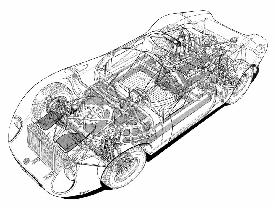 Alfa Romeo Tipo 33 2 Fleron Classic Race Car Cutaway Wallpaper