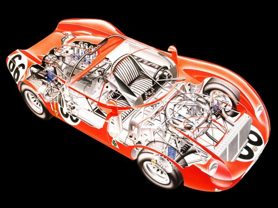 Alfa Romeo Tipo 33-2 Fleron Classic Race Car Cutaway wallpaper
