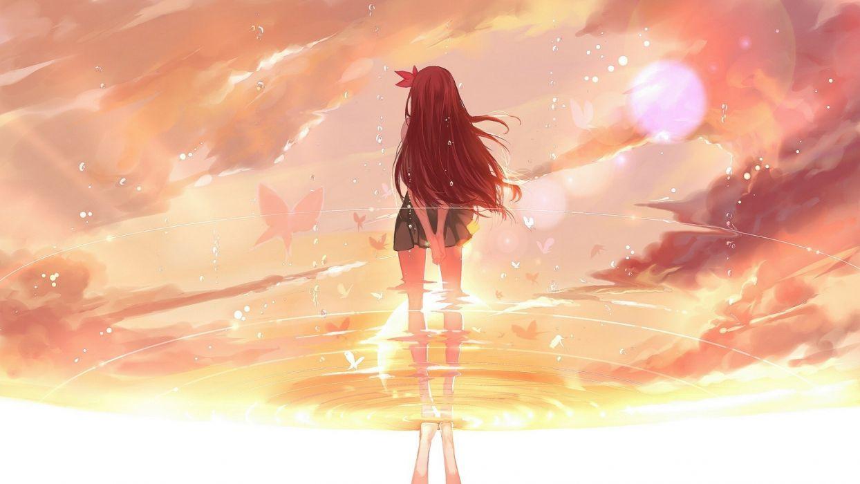 anime girls waterfall sunset clouds Kantai Collection wallpaper