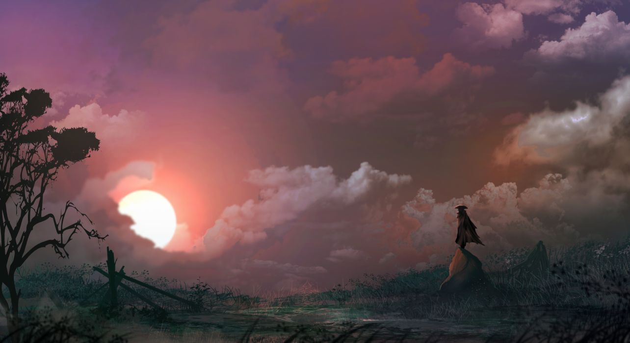 fantasy art nature Sun cloud loneliness hero grass wallpaper