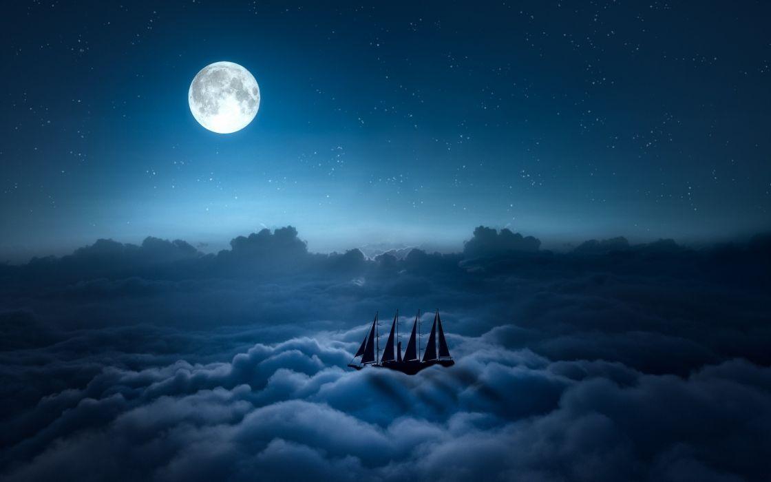 digital art ship Moon clouds night wallpaper