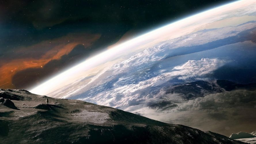 space universe planet Moon Earth Photo manipulation stars clouds astronaut artwork nebula continents atmosphere wallpaper