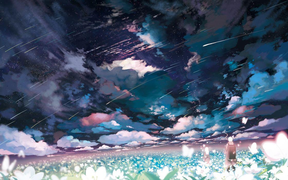 shooting stars flowers butterfly clouds Mushishi Ginko (Mushishi)anime sky wallpaper