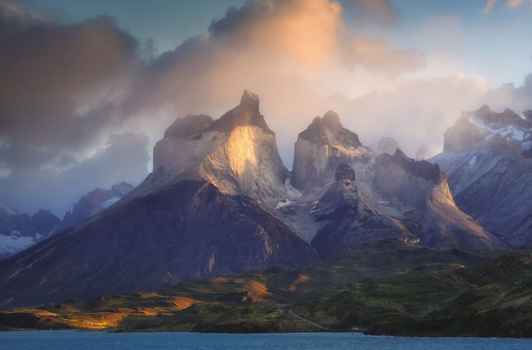 photography landscape nature morning sunlight mountain clouds lake road buses Torres del Paine Patagonia national park Chile wallpaper